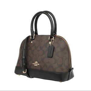 Coach Signature Brown & Black Mini Sierra Satchel